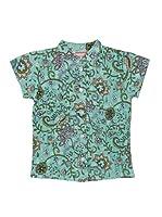 Spantajáparos Camisa Japonesa tablas (Turquesa)