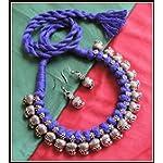 [N16O_033] Dark Blue Thread Necklace
