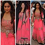 Amazing Madhuri Dixit In Pink Net Anarkali Suit