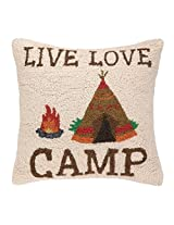 Peking Handicraft Live Love Camp Hook Pillow, 18 by 18-Inch, Multicolor