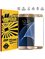 S7 Edge Coloured Tempered Glass, E LV Samsung Galaxy S7 Edge ANTI-SHATTER Colorful Ballistic Glass Screen Protector Colored Front Premium Tempered Glass Screen Protector for Samsung Galaxy S7 Edge , Scratch Free Ultra Clear HD Screen Guard for Samsung Galaxy S7 Edge - GOLD (NOT COMPATIBLE WITH GALAXY S7)