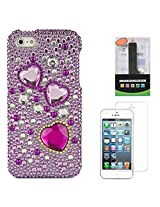 VanGoddy Hearts Rhinestones Full Diamond Back Cover for Apple iPhone 5s (Purple) + 2600 mAh PowerBank + Matte Screen