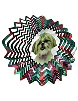 """Iron Stop 10"""" 3 D Wind Spinner Designer Shih Tzu Dog Multi Color Powder Coated Metal + 2 Swivels"""
