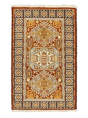 Hand-Knotted Royal Kazak Rug, Dark Orange, Khaki, 3' 1