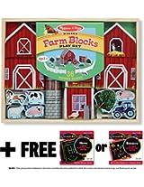 Farm Blocks 36-piece Play Set + FREE Melissa & Doug Scratch Art Mini-Pad Bundle [05319]