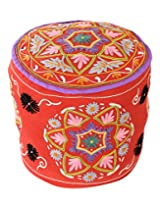 Cultural Round Rust Ottoman Cotton Floral Embroidered Pouf Cover Decor By Rajrang