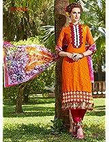 Rozdeal Women Cotton Orange Long Salwar Kameez