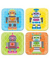 French Bull - BPA Free Children's Dinner Set - 8-Inch Melamine Kids Plate Set - Robot, Set of 4