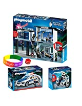 Playmobil Police Set Includes: Police Station With Alarm System, Police Car With Flashing Light And Police Motorcycle With Dimple Ring And Bracelet