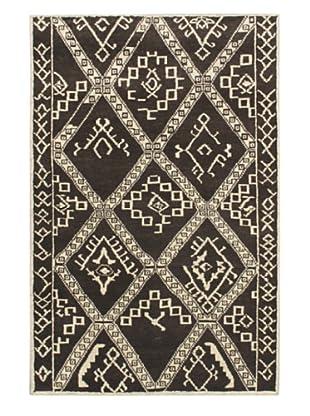 Hand-Knotted Himalaya Gabbeh Wool Rug, Black Yellow/Cream, 5' x 8'
