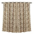 Zaffre's Sapphire Collections Solid Knitted Print SS Eyelet Curtains - Butta Coffee Leaf Door