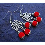bright red floral danglers from Violetsz