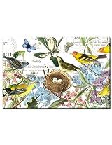 CounterArt Botanical Birds Glass Cutting Board, 8 by 12-Inch