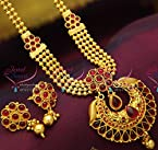 Multi Strand Beaded Kempu Temple South Jewellery Necklace Set Online Fashion