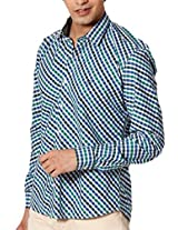 SPEAK Men's Green Checks Cotton Shirt