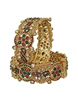 Anjan Appealing Traditional Brass Cubic Zirconia 18K Yellow Gold Plated Bangle Set For Women Size_2.4