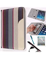 LYSTOCK iPad Air 2 Case, Retro Stripe Multi-color PU Leather Handle Case, with Kickstand Protective Sleeve Case Cover for Apple iPad Air 2/ipad 6 (#3)