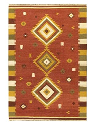 Hand Woven Kashkoli Wool Kilim, Dark Red, 6' 7