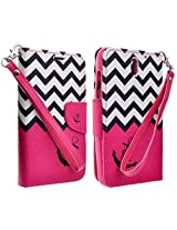 HTC Desire 610 Case, Magnetic Leather Flip Wallet Pouch HTC Desire 610, Slim Folio Case with Kickstand, 2 Credit Card Slot Wallet Pouch (HOT PINK ANCHOR)