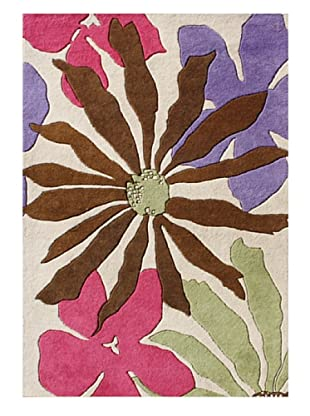 Horizon Rugs New Zealand Wool Rug (White/Brown/Rose Multi)
