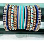 Blue silk thread Bangle set of 11 n stone Bangles set of 4