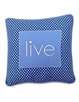 One Grace Place Simplicity Blue Decorative Pillow Live, Blue, Light Blue, White