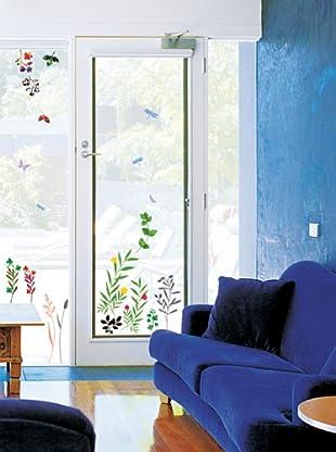Vinilo Adhesivo Hierba y mariposas Multicolores
