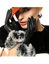 WARMEN Luxury Genuine Soft Nappa Leather Gift Gloves with 100% Rabbit Fur Cuff (L, Black (Style C ))