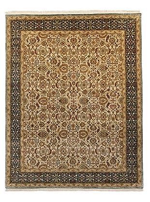 F.J. Kashanian Agra Hand-Knotted Rug, Beige/Teal, 5' 8