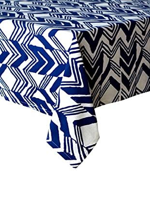 Couleur Nature Chevron Zag Tablecloth (Indigo)