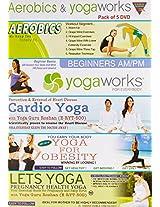 Aerobics & Yoga Works (Pack of 5 DVDs) (Aerobics, Beginners AM/PM, Cardio Yoga, Yoga for Obesity, Lets Yoga Pregnancy Health Yoga)