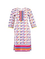 Karni Women's Cotton Off-White & Blue Kurti