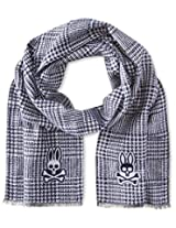 Psycho Bunny Men's Glen Plaid Reversible Scarf, Navy, One Size