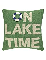 Peking Handicraft on Lake Time Hook Pillow, 18 by 18-Inch, Green