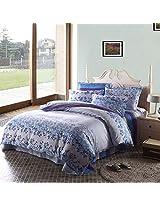 3PCS Pure Cotton Flower Reactive Print Bedding Set With Duvet Cover
