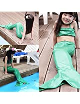 Girl Little Mermaid Tail Bikini Set Swimmable Swimming Princess Costume Swimsuit (120, Green)