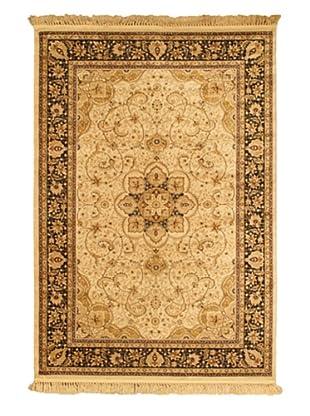 Qum Kashmir Traditional Rug, Beige, 5' 2