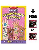 Pink: My First Temporary Tattoos - 100+ Kid-Friendly Tattoos + FREE Melissa & Doug Scratch Art Mini-