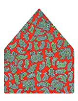 Tiekart Printed Silk Pocket Square (Ps370_Red)