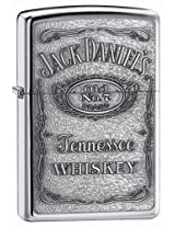 Original Polished Chrome Zippo Lighter with genuine pewter Jack Daniels Label