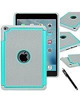 iPad Mini 4 case - E LV iPad Mini 4 Case Cover - Hybrid Armor Protection Defender Smart Case Cover Shell for Apple iPad Mini 4 - TEAL / GREY