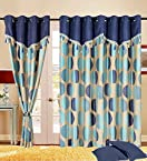 Round Drape Eyelet Wall Curtain Blue