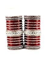 Vidhya Kangan Personalize Acrylic Rhinestone Embedded Set Bangle - Red 2.6