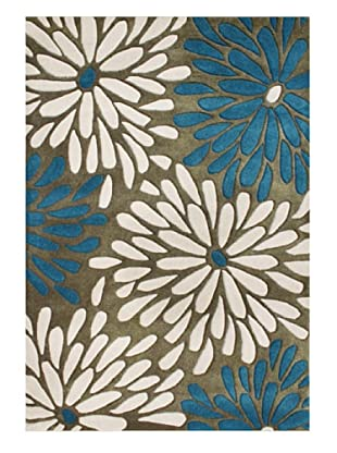 Horizon Rugs New Zealand Wool Rug (Olive/Algiers Blue/White)
