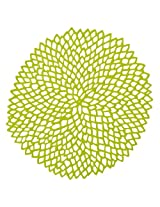 Chilewich Dahlia Round Floral Placemat, 14.25 by 15.25-Inch, Lime