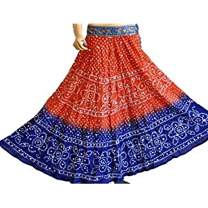 Tie-dye bandhani cotton skirt