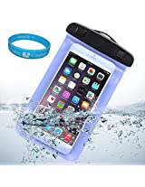 Sumaccn Underwater Waterproof Case Bag Pouch With Removable Armband For iPhone 6 / Motorola Moto X - 2nd Generation / Motorola DROID Turbo / Sony Xperia Z3v + SumacLife TM Wisdom Courage (Blue)