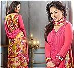 Hina Khan Style Peach Straight Anarkali Suit
