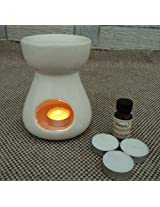 Pure Source India Ceramic Aroma Burner with 10 ML Lemon Grass Aroma Oil and 4 Tea Light Candle