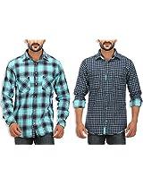 SPEAK Men's Blue Checkered Reversible Cotton Casual Shirt